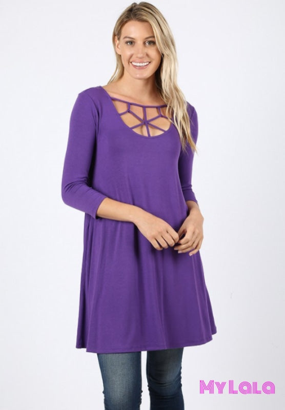 1 1758 Lily Lattice 3/4 Sleeve (Purple) - My Lala Leggings