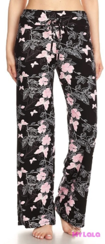 Lounge Pants - Pink Floral Butterfly - My Lala Leggings, soft leggings, buttery soft leggings, one size leggings
