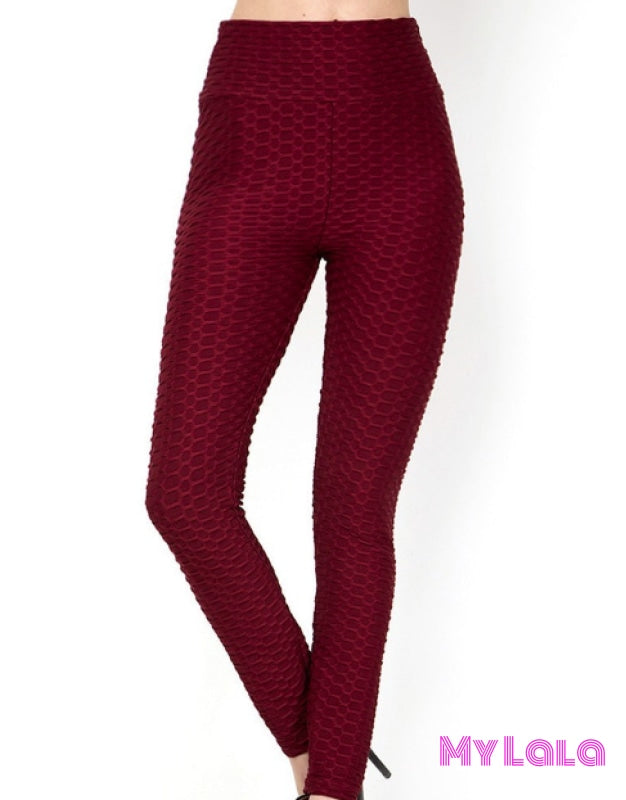 Original Honeycomb (Burgundy) - My Lala Leggings, soft leggings, buttery soft leggings, one size leggings