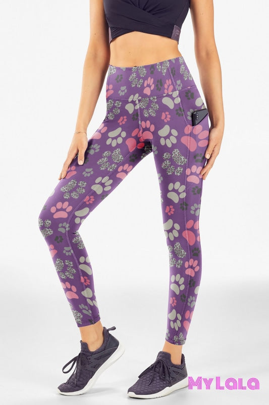 Pocketed Legging Os (Pink Leopard Paw)