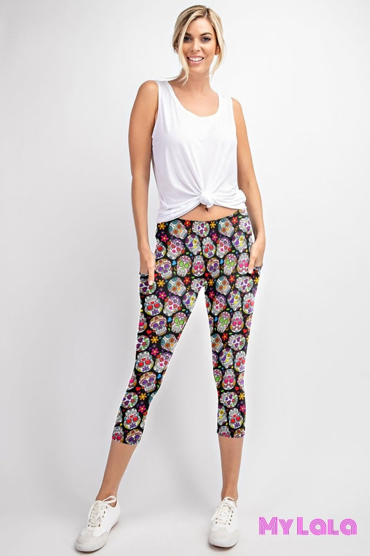 Pocketed Yoga Softy Capri OS (Colorful Sugar) - My Lala Leggings