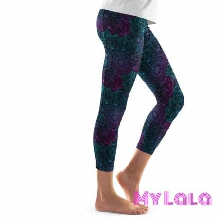 Pocketed Yoga Softy Capri OS (Dark Mandala) - My Lala Leggings