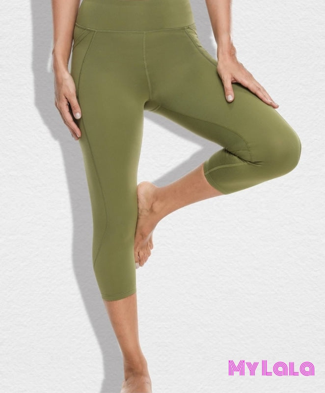 Pocketed Yoga Softy Capri OS (Lt Olive) - My Lala Leggings