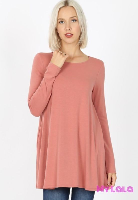 Rt 1633 Boat Neck Pocketed Flare (Ash Rose)
