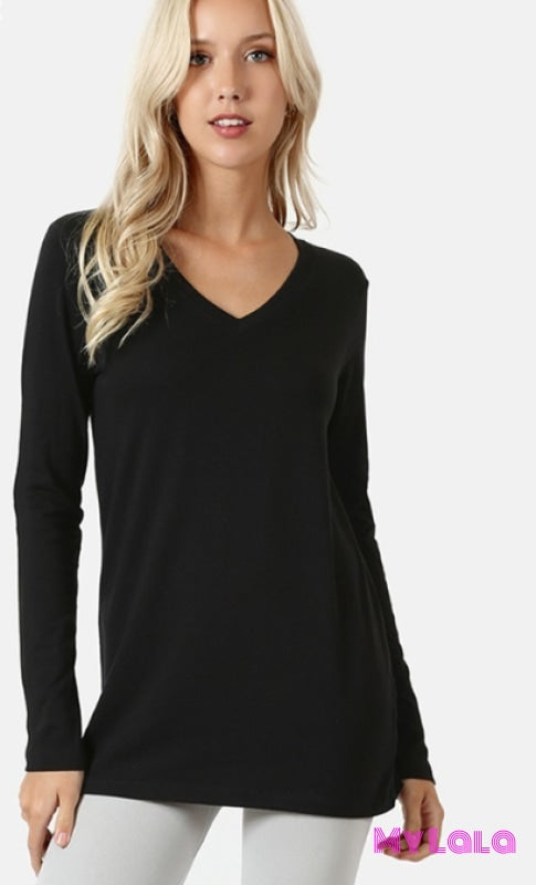 Vanessa V-Neck Long Sleeve (Black)