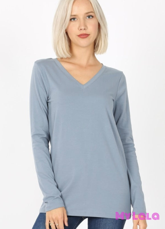 Vanessa V-Neck Long Sleeve (Cement)