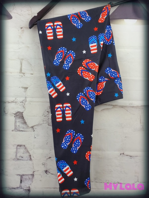 Yoga Band - Curvy 4th of July Flip Flops (Premium) - My Lala Leggings, soft leggings, buttery soft leggings, one size leggings