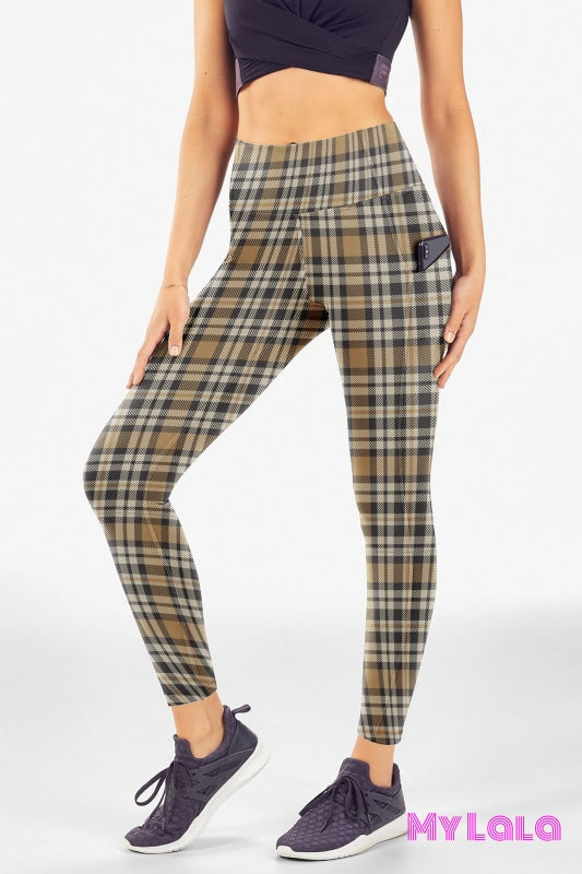 Yoga Band - Curvy Pocketed Legging (Brown Flannel) - My Lala Leggings