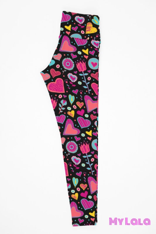 Yoga Band - Doodle Hearts & Flowers Kids (Premium) - My Lala Leggings
