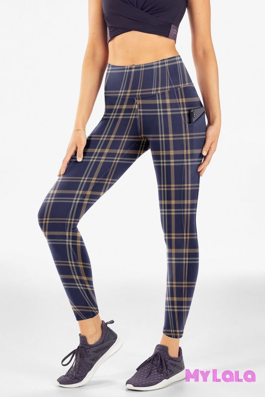 Yoga Band - EC2 Pocketed Legging 24-32 (Blue Beige Plaid) - My Lala Leggings, soft leggings, buttery soft leggings, one size leggings