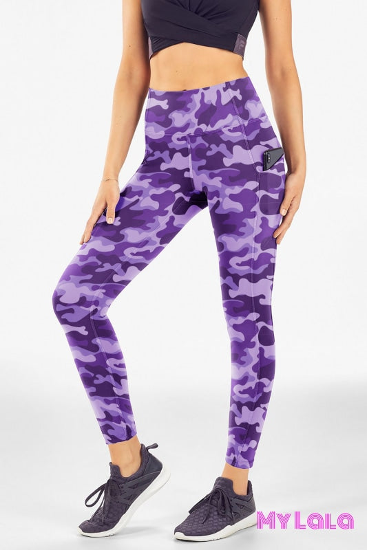 Yoga Band - Extra Curvy Pocketed Legging 20-26 (Purple Camo) - My Lala Leggings, soft leggings, buttery soft leggings, one size leggings