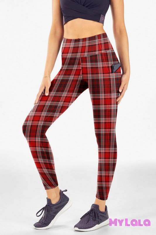 Yoga Band - Extra Curvy Pocketed Legging 20-26 (Red Flannel) - My Lala Leggings, soft leggings, buttery soft leggings, one size leggings