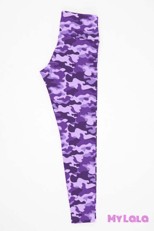 Yoga Band - Purple Camo Kids - My Lala Leggings, soft leggings, buttery soft leggings, one size leggings