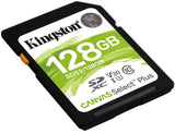 Kingston 128GB Canvas Select Plus SD 4K minniskort, Class 10 UHS-I