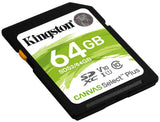 Kingston 64GB Canvas Select Plus SD 4K minniskort, Class 10 UHS-I