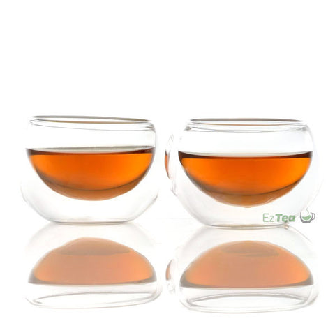 double wall glass tea cups with tea