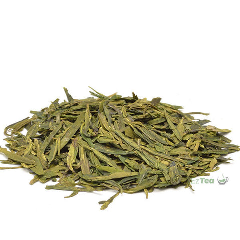 Dragon well long jing green tea in a pyramid shape