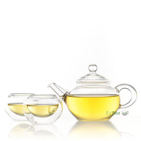 double wall glass tea cups with glass gongfu teapot