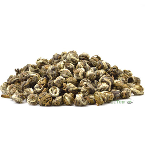 premium jasmine dragon pearls green tea in a pyramid shape