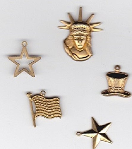 Brass patriotic charms set