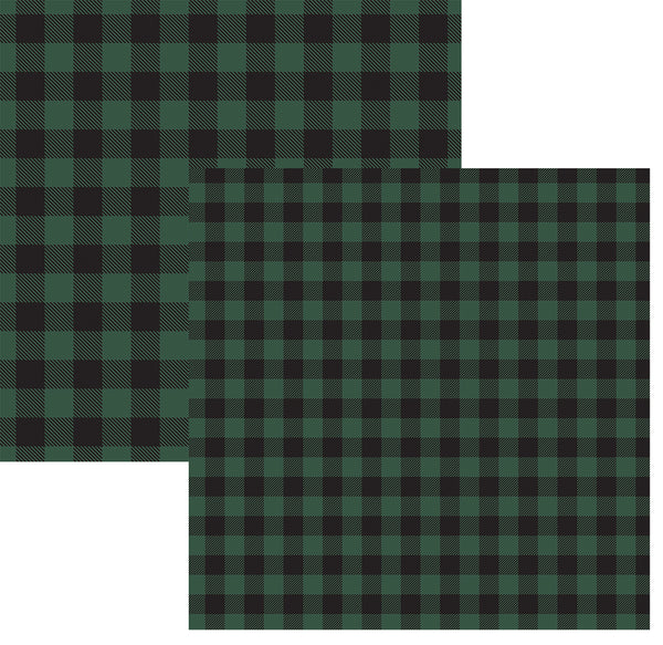 Green and Black Buffalo Plaid Paper