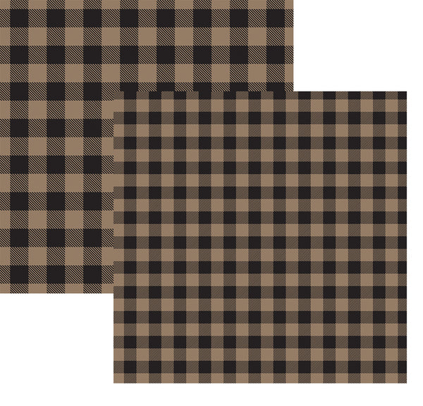 Brown Black Buffalo Plaid Paper 12x12