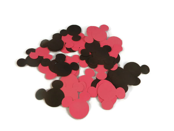 Assorted Mickey Mouse Head Shape Die Cuts - Black/Red - 50pc