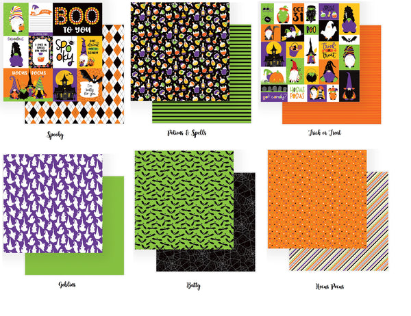 Gnome for Halloween - 12X12 Scrapbook Papers Set - 6 Sheets