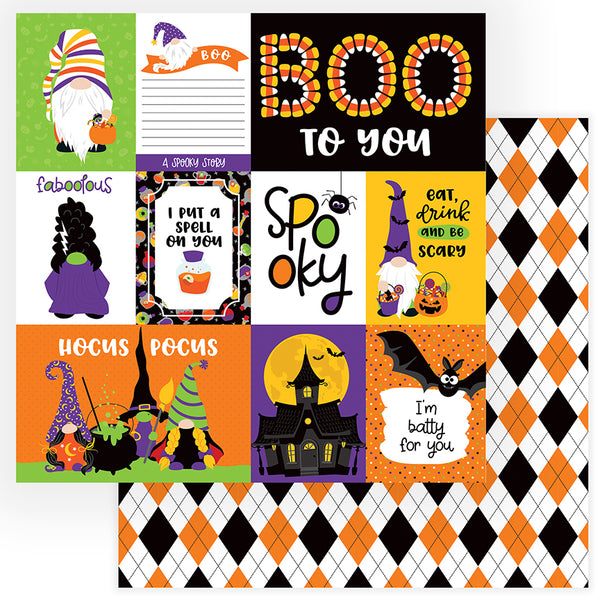 Spooky Gnomes for Halloween Scrapbook Paper