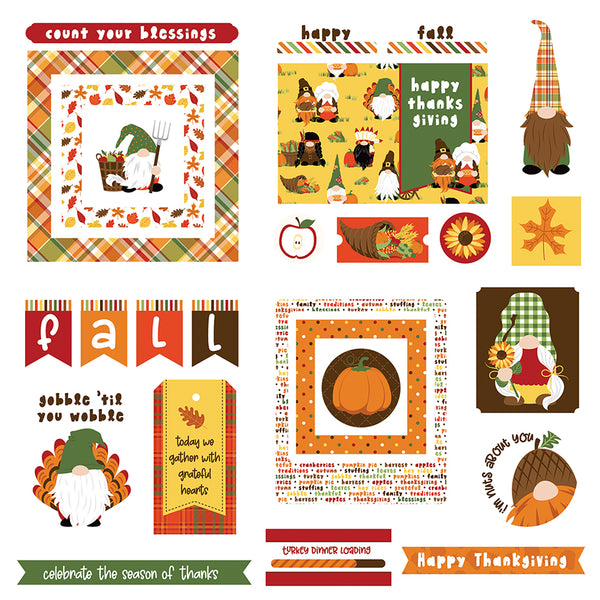 Gnomes for Thanksgiving Die Cut Ephemera