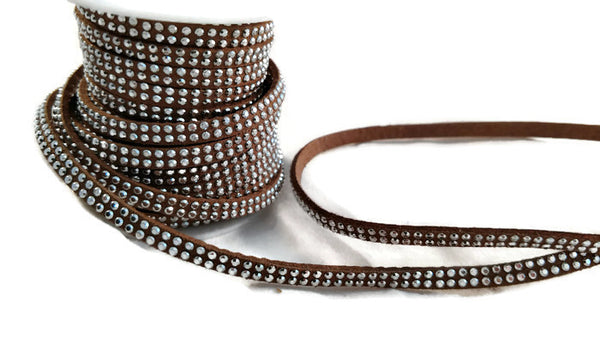 Brown Jewelry Cord with Silvery Acrylic Rhinestones - 3 Yards