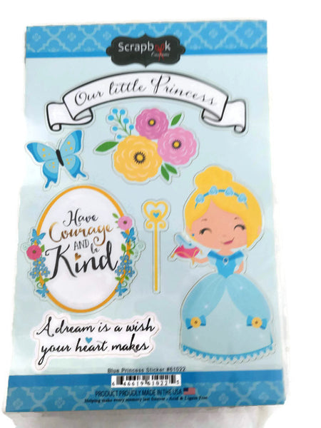 Blue Cinderella Princess Stickers by Scrapbook Customs