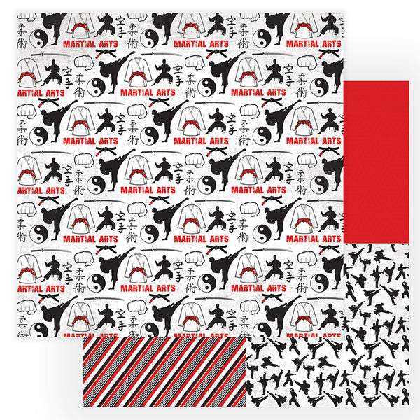 Sparring Martial Arts Scrapbook Paper