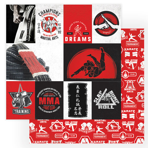 Training Martial Arts Scrapbook paper