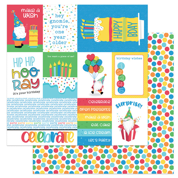 Surprise Birthday Party Norbert Gnome Scrapbook Paper