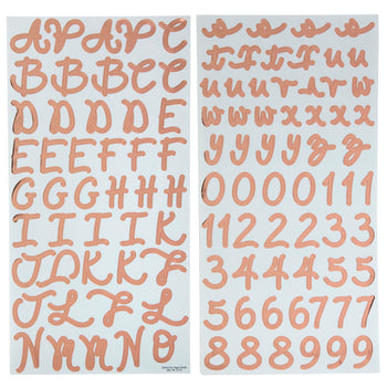 Rose Gold Foil Script Alphabet Stickers