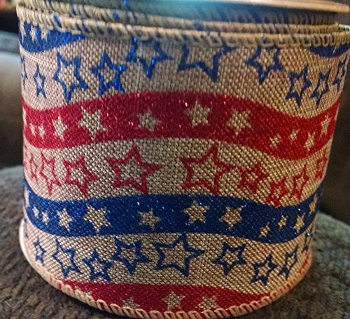 Patriotic Americana Stars & Stripes Printed Burlap Ribbon - 3 Yards Wired Glitter 4th of July