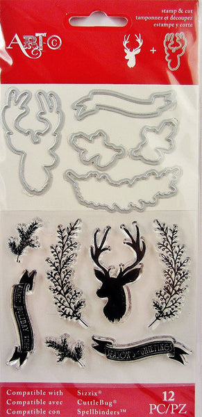 Merry Christmas Deer Buck Stamp and Die Set Seasons Greetings