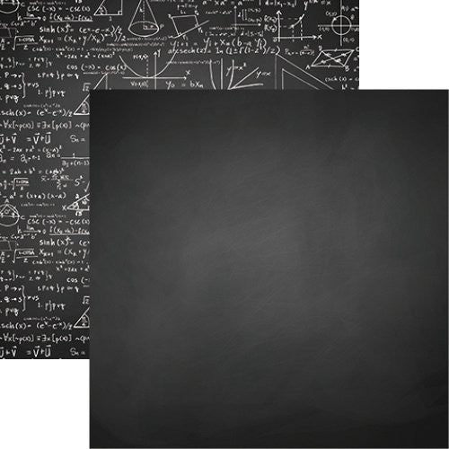 Back to School 12x12 Scrapbook Paper - Chalkboard - 5pc