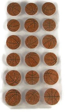 3-d Basketball Glitter Foam Dimensional Stickers