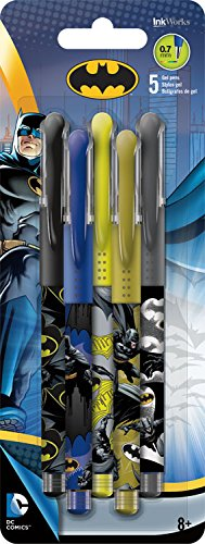 Batman Colored Gel Pens - 5 Pens