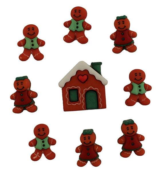 Gingerbread Cottage Christmas Buttons