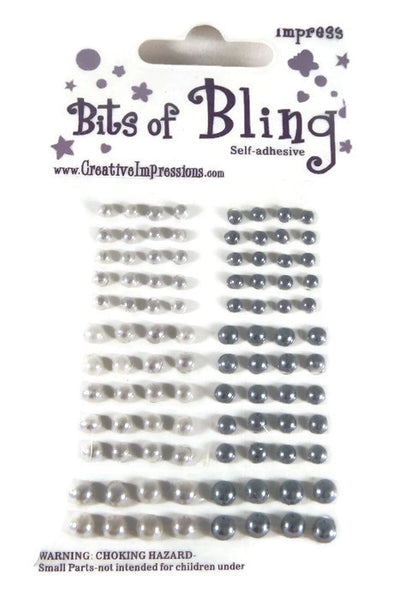 Bits of Bling Bright & Dark Silver Pearls Self Adhesive