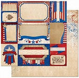 Bo Bunny Patriotic Paper Anthem 4pc Scrapbooking  Set - 12x12 Paper