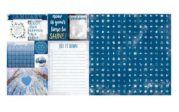 January Calendar Girl 12x12 Scrapbook Paper - 5 Sheets by Bo Bunny