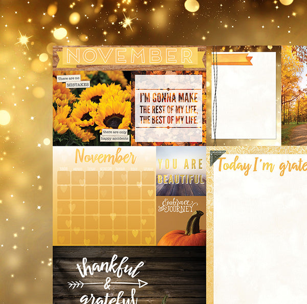 November Calendar Girl 12x12 Scrapbook Paper - 5 Sheets by Bo Bunny