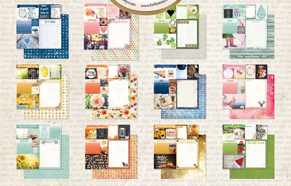 Calendar Girl 12x12 Scrapbook Paper 12pc January - December - Double Sided - by Bo Bunny