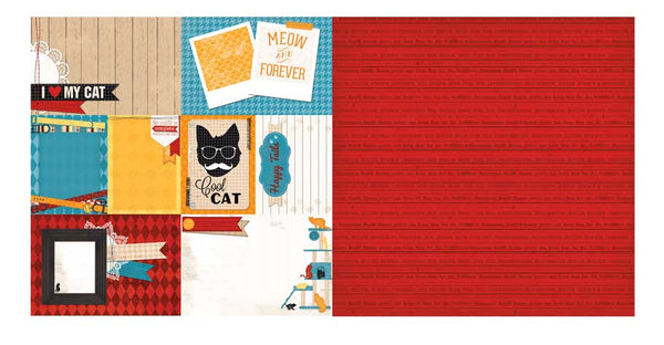 Bo Bunny Cat Nap Happy Tails Scrapbook Paper