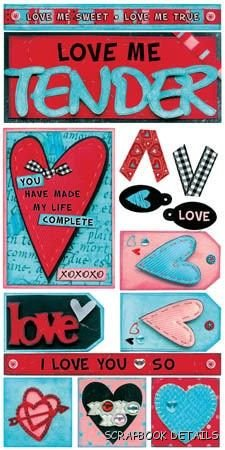 Love Me Tender Valentine Stickers by Bo Bunny