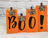 Boo Orange Halloween Wood Sign